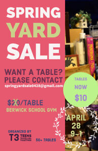 LAST CHANCE for tables!  Spring Yard Sale April 28.
