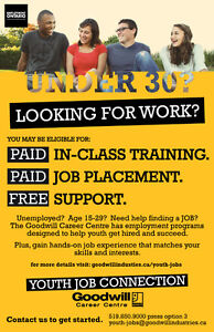 Unemployed? Age 15-29? Get PAID in class training! London Ontario image 1