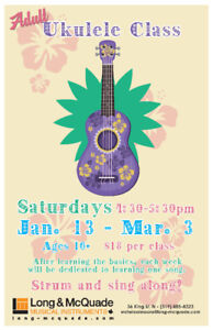 Adult Ukulele Group Class at Long & McQuade Waterloo!
