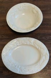 Large vintage Italian ceramic serving platter and bowl