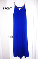 Blue Dress with Gold Design-Wedding, Work or Special Occasion