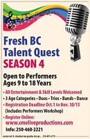 Fresh BC Talent Quest - SEASON 4 - Performers WANTED