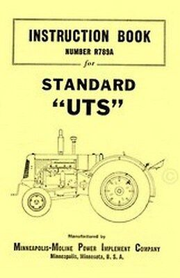 Minneapolis Moline Uts Standard Tractor Operators Instruction Manual