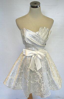 Off White / Silver Evening Dress 5 (White Masquerade Dresses)