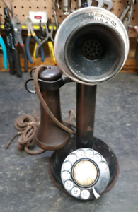 antique Automatic Electric candlestick telephones
