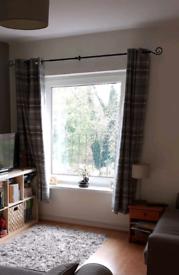 Grey tartan curtains