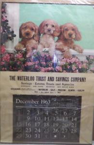 1963 Waterloo Trust Calendar Kitchener Galt Preston Guelph
