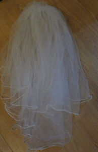2 Tiered White Beaded Veil