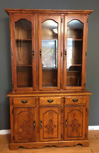 Solid Maple Kitchen Table and China Cabinet