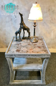 One of A Kind! Unique side table and piece of art - all in one