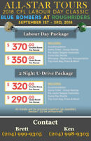 All Star Tours- 2018 CFL Labour Day Classic Game Bus & Ticket