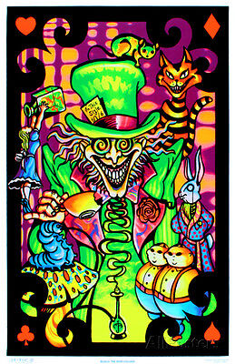 Alice in Wonderland Mad Hatter Collage Flocked Blacklight Poster Art Print