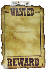 Western Wanted Sign (holds 8 x10 photo) Party Accessory