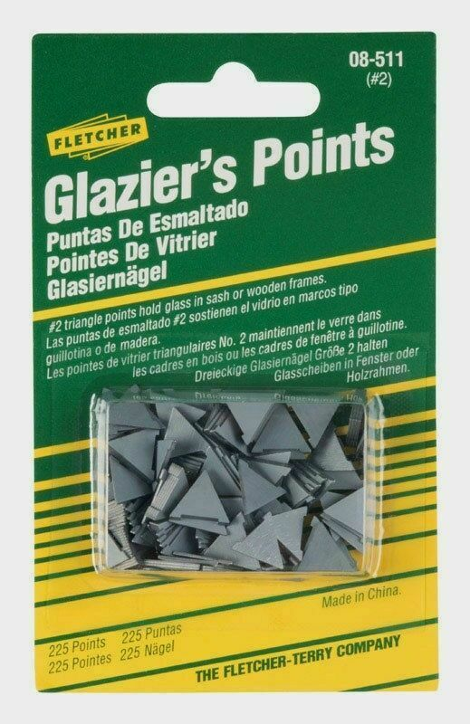 New 08-511 Fletcher No. 2 Glazier Points 225pk Holds glass in sash or wood frame Crafts