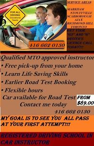 MTO Approved Driving school IN CAR LESSONS