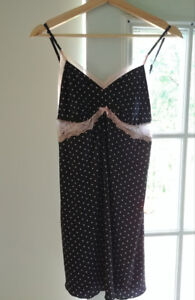 Black and pink polka dot chemise size M