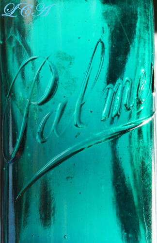 Pristine PALMER green antique PERFUME bottle EXTREME in COLOR and CONDITION