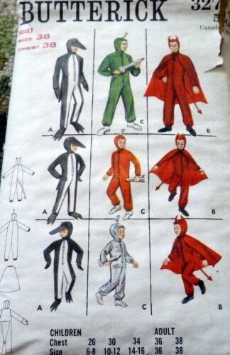 *VTG 1950s MENS COSTUMES PENGUIN ALIEN DEVIL Sewing Pattern CHEST 38