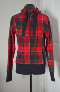 XS BNWT Plaid Hoody Active/Outdoor Sweater Super Cute Has Thumbh