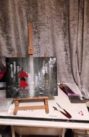Lady in red in the rainy city on canvas