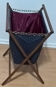 Vintage Folding Standing Sewing Knitting Bag/ Basket/ Stand