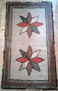 Old Lunenburg County hooked rug, Double Star, 1920