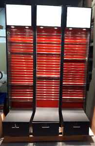 Display Cases w/ Glass Shelves, Locking Door and Drawer