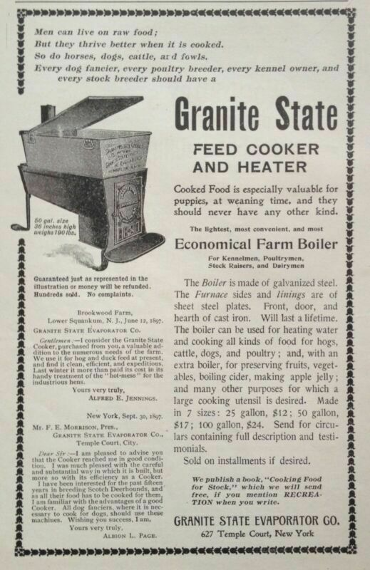 1897 AD(1800-42)~GRANITE STATE EVAPORATOR CO. NY. FEED COOKER AND HEATER