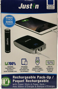 Power Bank charger - Justin Rechargeable Pack-Up 2 pack