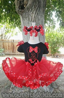 Personalized Red and Black Minnie Mouse Ribbon Trim Tutu Birthday Outfit  (Red And Black Minnie Mouse Tutu)