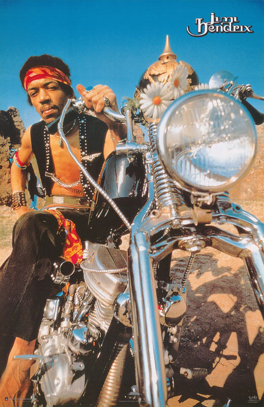 POSTER:MUSIC: JIMI HENDRIX ON HARLEY MOTORCYCLE  -  FREE SHIP  #5295  RC16 E