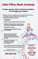 Affordable Piano, Violin, Guitar, Flute and Orff lessons!