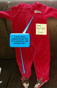 """My 1st Christmas"" reindeer footie super soft velour PJs - $4 London Ontario image 1"