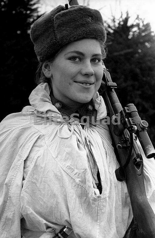 WW2 Picture Photo An amazing photo of Roza Shanina rifle is a Mosin Nagant 954