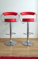 2 Red Leather Swivel Bar Stools (like new!) - $120