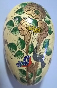 Beautiful Hand Painted Decorative Wooden Egg w/Trees and Birds