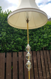 Traditional brass floor lamp and shade