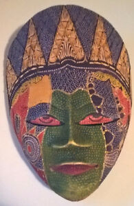 Hand Crafted Wood Batik Mask Indonesian Style Art