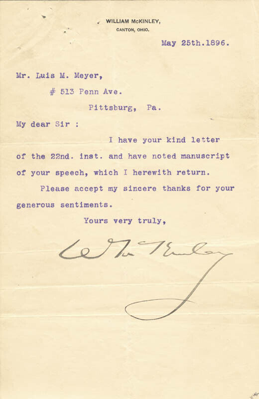 WILLIAM McKINLEY - TYPED LETTER SIGNED 05/25/1896
