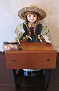 Anne Of Green Gables Porcelain Doll And Wood & Cast Iron Desk