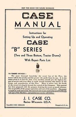 Case B Series Two Three Bottom Plow Operators Manual