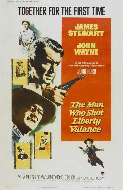 THE MAN WHO SHOT LIBERTY VALANCE Movie POSTER 27x40 B James Stewart John Wayne