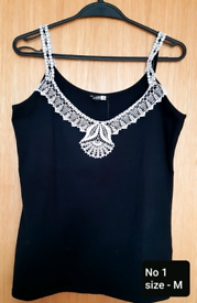Cotton tank top with handmade silk lace. More models. Free Delivery