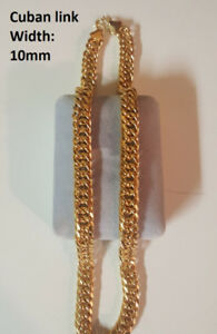 24K Cuban Link Gold Filled 10mm Thick Chain – 20""