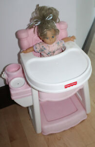Doll Fisher Price high chair with doll