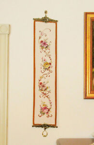 Needlepoint Petitpoint FLOWERS Wall Hanging - Brass Hangers