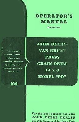 John Deere Pd Vanbrunt Grain Drill 14 Operators Manual