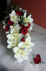 White Orchards and Red Rose Wedding Bouquet Flower Set. London Ontario image 1