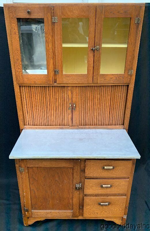 Antique Oak & Birch Wood Kitchen Hoosier Cabinet w Working Surface