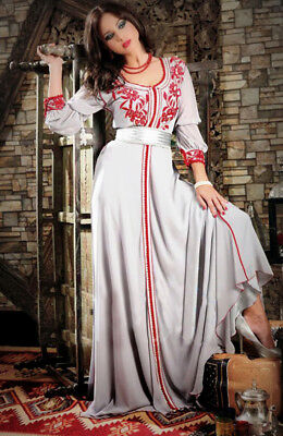 New Gray Red Morocan Kaftan Abaya Long Maxi Dress Islamic Jilbab Jalabiya Caftan for sale  Shipping to United States